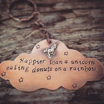 Unicorn Keyring, Cute Keyring Happier Than a Unicorn Eating Donuts