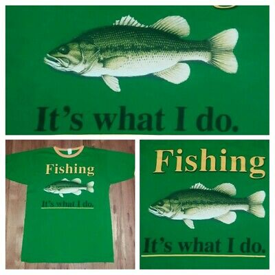 Fish Fishing Its what I do ringer t shirt L salmon trout boat rod reel green