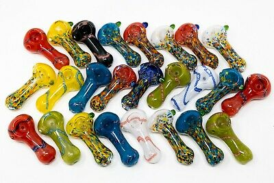 """3//3.5/"""" Collectible Glass Hand TOBACCO Smoking Pipes Bundle 25pcs Wholesale Asst."""