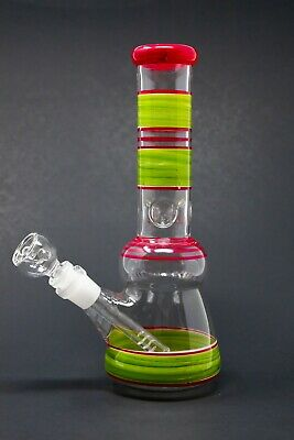 "Hookah Water Pipe Heavy Glass 10"" Red/Green Tobacco Beaker Bong w/ ICE catcher"