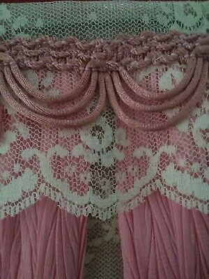 Pair of Hand-made Dollhouse Miniature Ivory Polka Dot Window Cafe Curtains