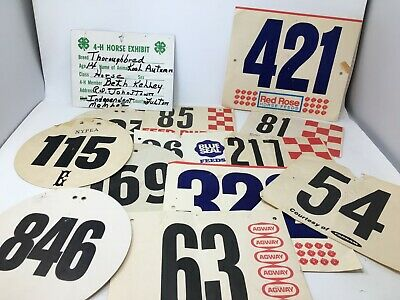Lot of 13 Vintage Cardboard Equestrian Horse Show ID Numbers