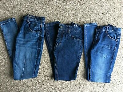 NEXT & TU Bundle Of 3 x Pairs Of Boys Dark/Mid Blue Wash Skinny Fit Jeans Age 13