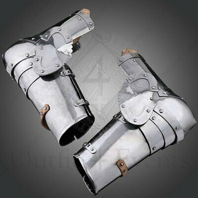 Sca Medieval Larp Churbu Pair of Steel Arms Armor Bracers Hand Protection