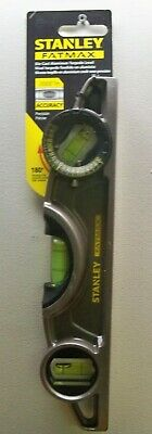 New Stanley 43610 Fatmax Die Cast Aluminum Magnetic Torpedo Level Rotating Vial