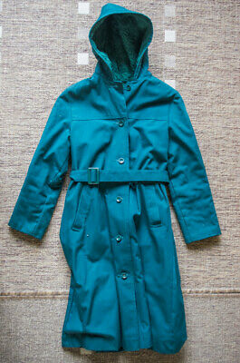 Vintage 1980s M&S Marks and Spencer Girls' Fur Lined Coat with Hood –Age 11
