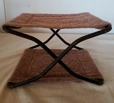 Antique Vtg Iron Childs Folding Buggy Seat Wagon Booster Foot Rest Stool Ladies