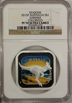 Australia 1 Dollar 2013 P NGC PF 70 Ultra Cameo UNC Silver 1oz. Summer Seasons