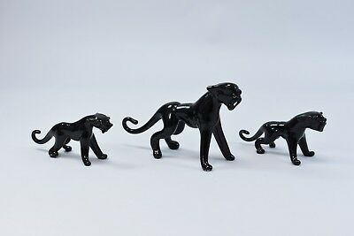 Set of 3 Panthers Figurine of Blown Glass Crystal