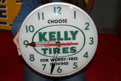 """Vintage 1950's Kelly Springfield Tires Gas Oil 15"""" Lighted Metal Pam Clock Sign"""