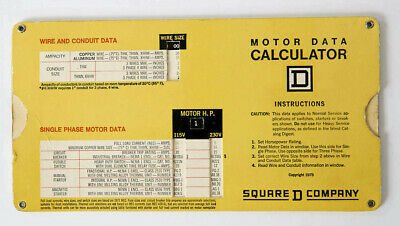 Vintage SQUARE D COMPANY 3 Phase Motor Data Calculator Slide Chart ADVERTISING