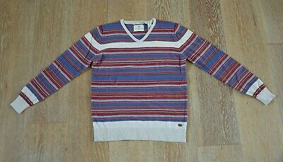 Scotch Shrunk Boys Striped V-Neck 100% Cotton Sweater Size 12 NWT