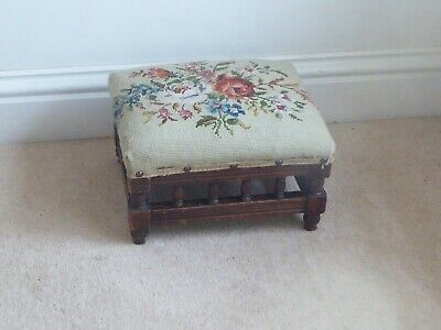 Small Antique Victorian Footstool 32cm x 27cm x 17cm Height