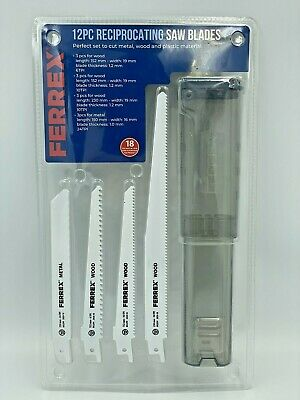 FERREX 12PC Reciprocating Saw Blades 4 Sizes With Holder For Wood Metal Plastic