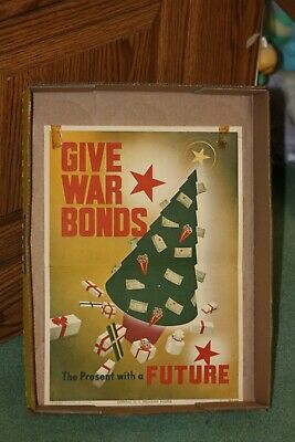 Original VTG. WWII WW 2  GIVE WAR BONDS AD Poster.CHRISTMAS PRESENT NOT A REPRO