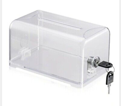 POLMART Product Display CLEAR Lock Box Business Cards Donations Suggestions P508