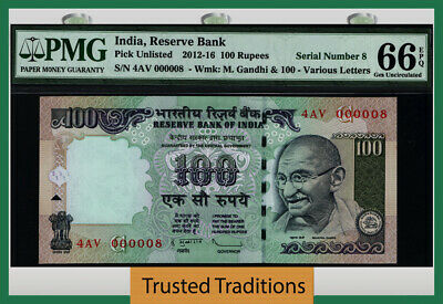 Tt 2012-16 India 100 Rupees Gandhi 4Av Block S/N 000008 Pmg 66 Epq Gem 6 Of 8!