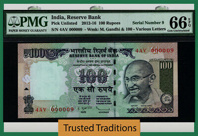 Tt 2012-16 India 100 Rupees Gandhi 4Av Block S/N 000009 Pmg 66 Epq Gem 7 Of 8!