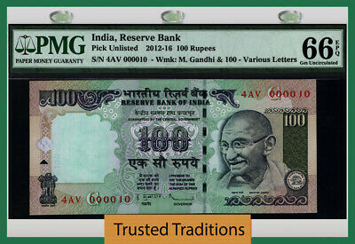 Tt 2012-16 India 100 Rupees Gandhi 4Av Block S/N 000010 Pmg 66 Epq Gem 8 Of 8!