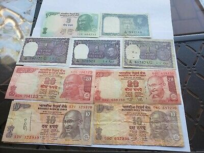 India , Collection Of 9 Notes Incl.Kg GeorgeVI  aVF to AU