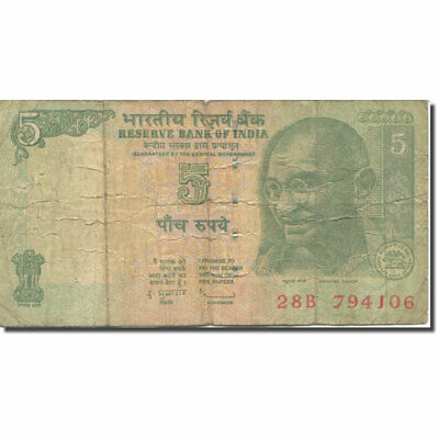 [#280696] Banknote, India, 5 Rupees, Undated (2002), KM:88Aa, VF