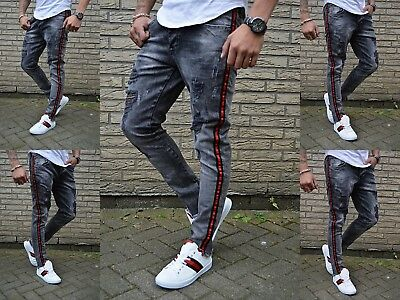 Men's Special Style Young Skinny Dark Grey Stonedwashed Fit Jeans Trousers