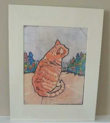 Red Boy Cat in Flowers- Original Batik Painting by Alice A. Craig
