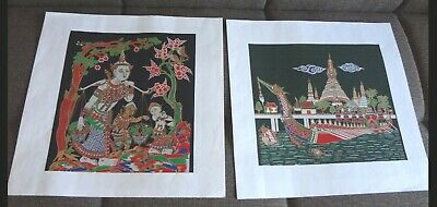 Two Oriental Asian Fabric Painting Thai Asian Women Dragon Boat