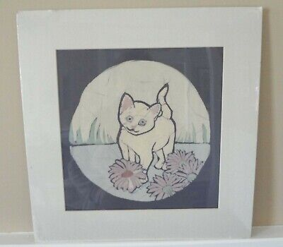 White Kitten with Flowers - Original Batik Painting by Alice A. Craig