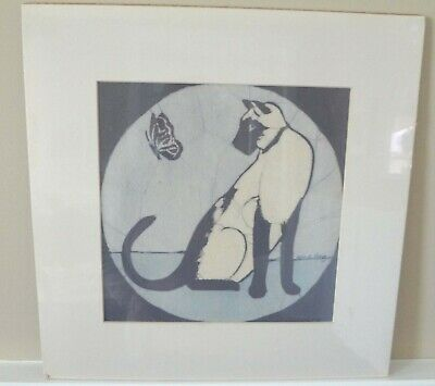 Siamese Cat and Butterfly - Original Batik Painting by Alice A. Craig