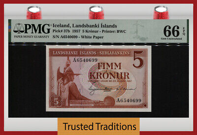 TT PK 37b 1957 ICELAND 5 KRONUR LANDSBANKI ISLANDS PMG 66 EPQ GEM UNCIRCULATED!!