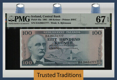 TT PK 44a 1961 ICELAND CENTRAL BANK 100 KRONUR PMG 67 EPQ  SUPERB UNCIRCULATED!