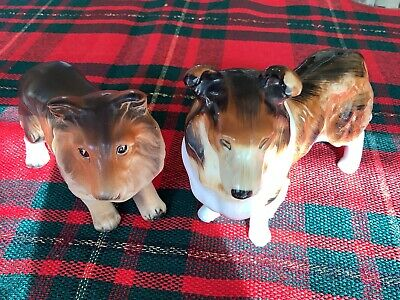Two Vintage Collie  Figurines One Ceramic And One Bone China