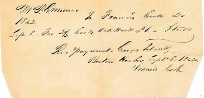 Sir Francis Cook- 1842 Handwritten Signed Payment Note