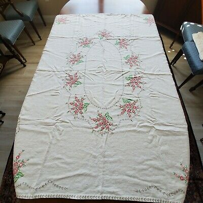 Antique Hand Embroidered Linen Pink & Green Floral Tablecloth #7