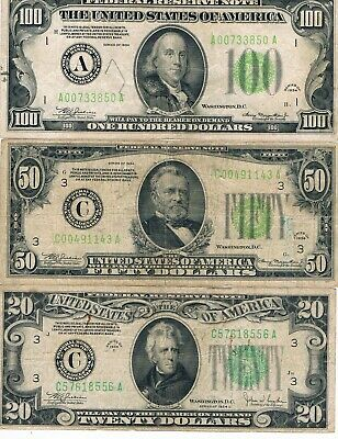 1934 USA currency set of 5 bank note $100,50,20,10 and 5 dollar