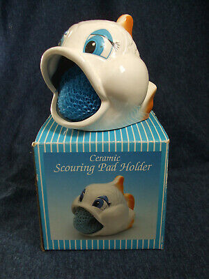 Vintage Wide Mouth Fish Ceramic Scouring Pad Holder,pre-owned used, original box