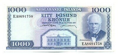 Iceland Republic Central Bank Sedlabanki Islands 1000 Kronur 1961 VF+ Pick #46a