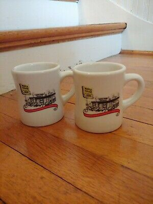 Pair Of Pottery 2012 Waffle House Diner Style Coffee Mugs EXCELLENT CONDITION