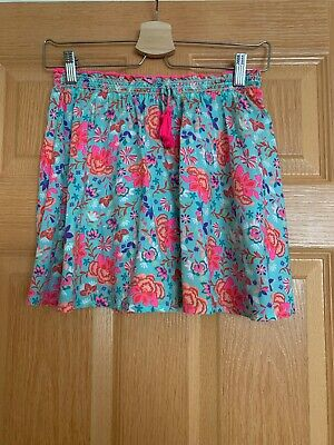 Monsoon Accessorize Angels Flower Skirt Age 9-10 Fluro Coral Aqua Blue Worn Once