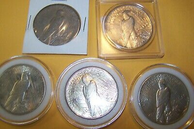 Lot #41  5 Circulated  Silver Peace Dollars, with great luster look at picks