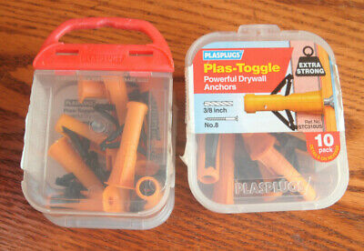 2- 10 packs 20 Total PlasPlugs Plas-Toggle DryWall Anchors Extra Strong Free S/H