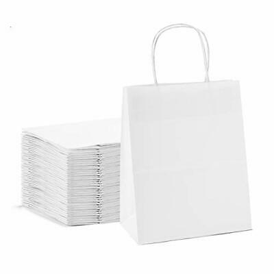"GSSUSA 8x4.75x10.5""100pc White Paper Bags with HandlesGoodie bags Mechandise ..."