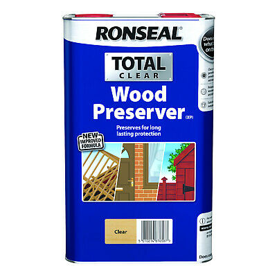 Ronseal Total Wood Preserver - Long Lasting Outdoor Protection - Clear - 5 Litre