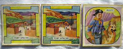 """1958 Nabisco Rin-Tin-Tin-Patches. 1 """"Rusty"""", 2 """"Fort Apache"""".  VG Never Used"""