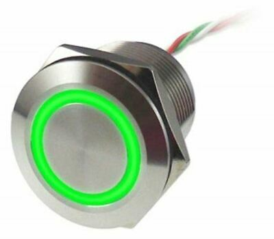 Push Button Touch Switch, Latching, NC,Illuminated, Green, IP68 Brass, 5 30V dc