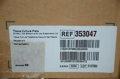 BD Falcon 353047 Tissue Culture Plate 24 Well Flat Bottom w/Lid LOT OF 40