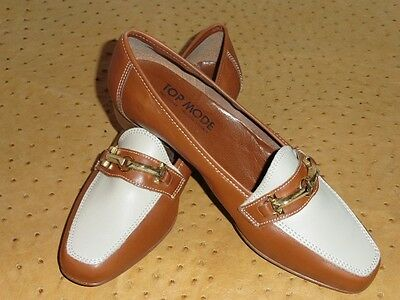 Scarpe Mocassino Top Moda IN Pelle Bicolore Marrone Vintage 80 Nuovo T.38