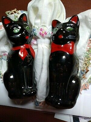 Shafton black cats 1950s Japan pair salt and pepper shakers