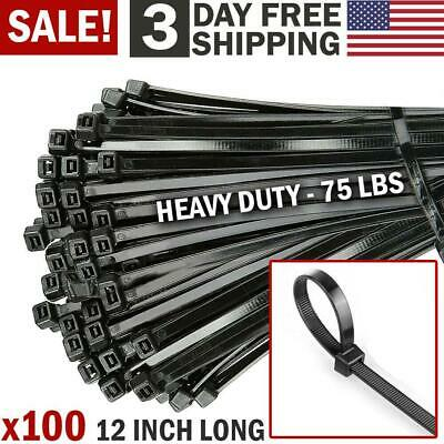 100 Cable Zip Ties 12 Inch Long Cable Ties Super Strong Nylon Cord Wrap Black
